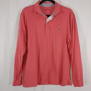 Vineyard Vines coral long sleeve knit polo size L